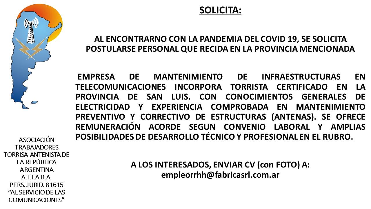 solicitud torrista San Luis